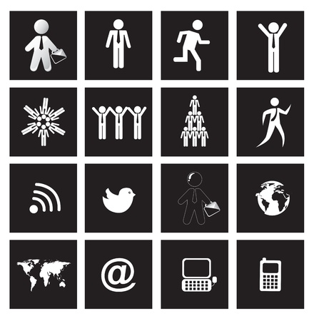 People, earth and communications icons over squares background Stock Vector - 15420753
