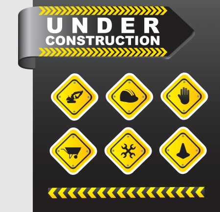 Icons of under construction over chrome background Stock Vector - 15420759