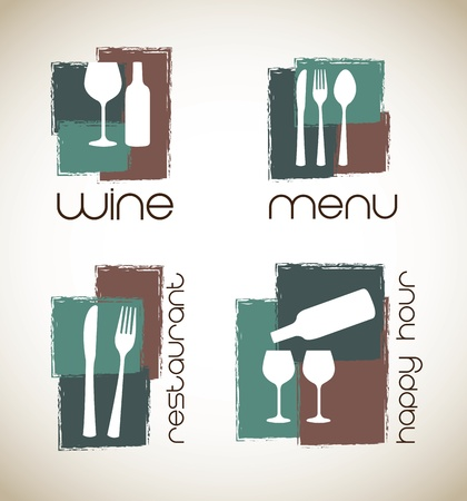 happy hour: icons of menu and wine  over white background