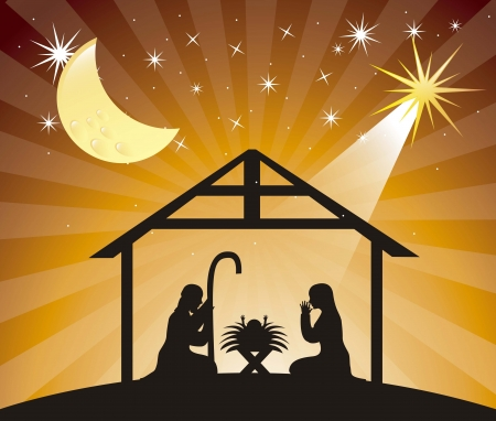 tranquil scene: black silhouettte nativity scene over evening. vector illustration Illustration