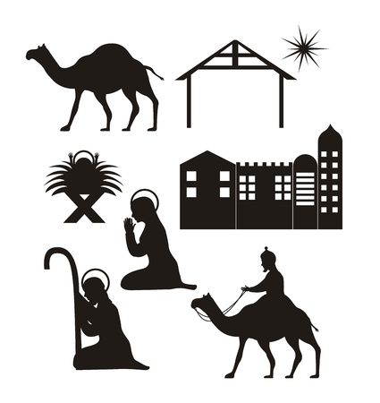 christmas religious: silhouettte christmas, nativity scene. vector illustration