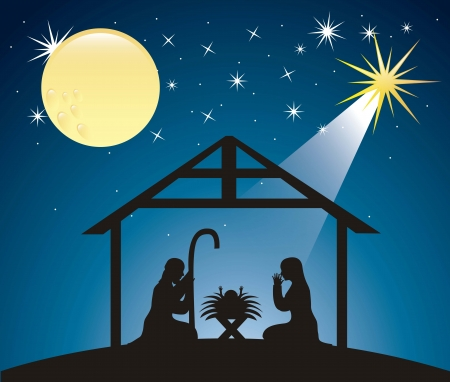 silhouttes christmas nativity scene. vector illustration Stock Vector - 15540030
