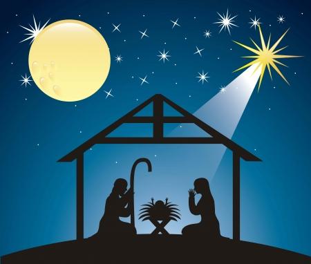 Silhouttes kerst kerststal. vector illustratie Vector Illustratie