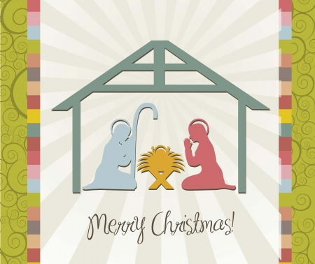 merry christmas card of nativity scene, vintage. vector Vector