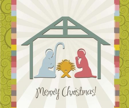 merry christmas card of nativity scene, vintage. vector Stock Vector - 15540064