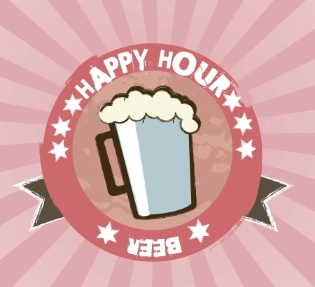 happy hour: happy hour with beer, vintage style. vector illustration Illustration