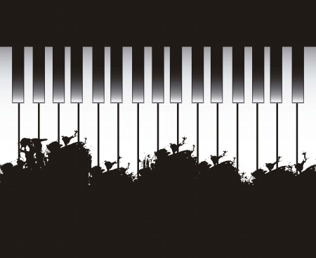 virtuoso: piano with space for copy. vector illustration