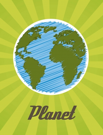 planet cartoon drawing over green background. vector illustration Stock Vector - 15541660