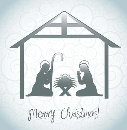 pesebre: natividad tarjeta escena sobre el fondo del ornamento. ilustraci�n vectorial
