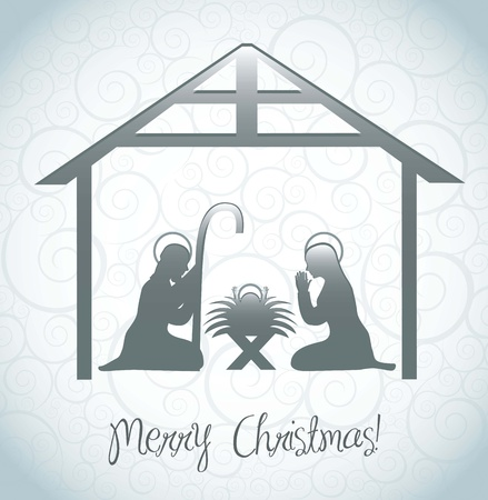 christmas religious: nativity scene card over ornament background. vector illustration