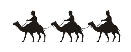 wijzen op kamelen, vrolijk kerstfeest. vector illustratie