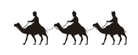 wise men: wise men over camels, merry christmas. vector illustration
