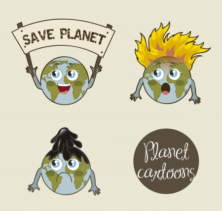 planet cartoon over beige background. vector illustration Vector