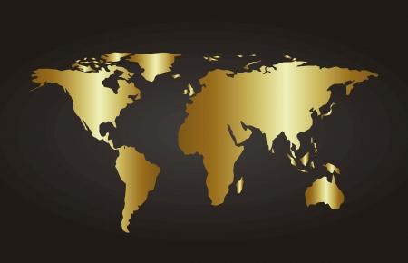 weltkugel asien: gold Karte �ber schwarzem Hintergrund. Vektor-Illustration Illustration