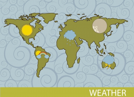 weather  with map over sea background. vector illustration Stock Vector - 15540077