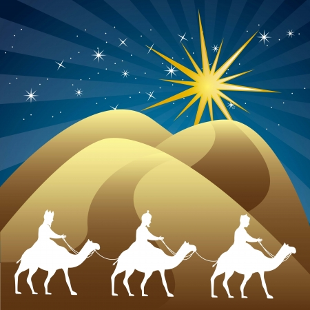 wise men: wise men over night background. vector illustration