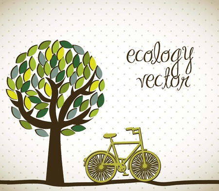 family gardening: cute tree with bike, ecology. vector illustration