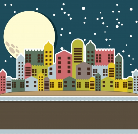 lighthearted: cute old city, vintage style. vector illustration Illustration