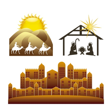 bethlehem: christmas elements isolated over white background. vector illustration Illustration