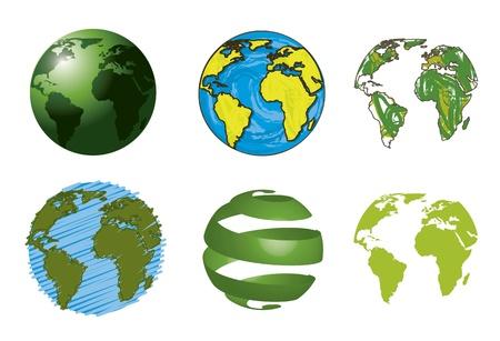 green planet: seis planetas aislados sobre fondo blanco. ilustraci�n vectorial Vectores
