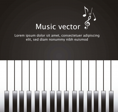 acoustically: piano with space for copy over black background. vector