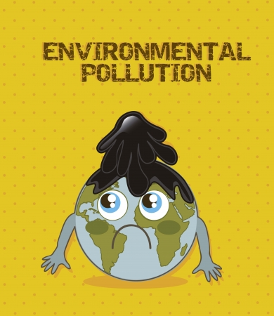 environment geography: planet cartoon with fuel, enviromental pollution. vector illustration