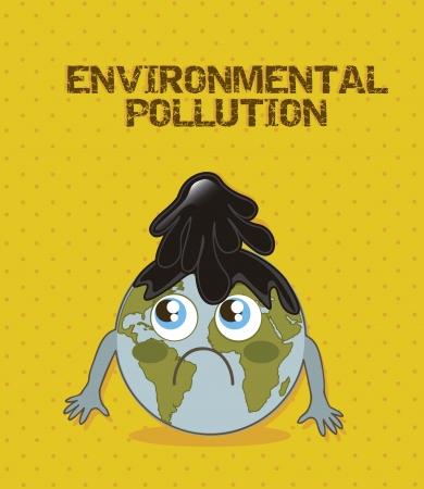 planet cartoon with fuel, enviromental pollution. vector illustration