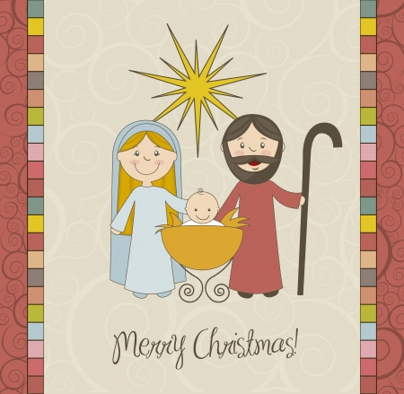 birth of jesus: christmas card with nativity scene, vintage. vector illustration