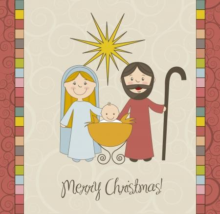 nacimiento de jesus: tarjeta de Navidad con Bel�n, vintage. ilustraci�n vectorial