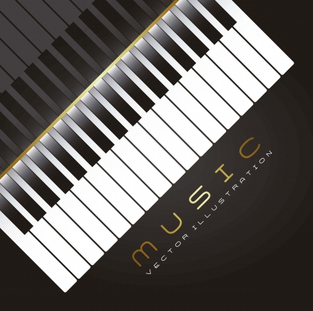 virtuoso: piano with shadow over black background. vector illustration