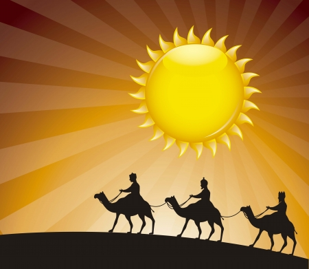 wise men over evenign background. vector illustration Vector