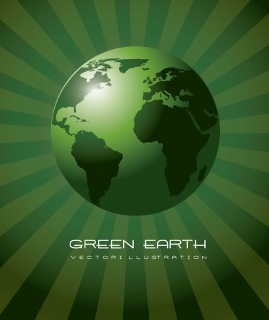 west europe: green earth realistic, ecology background. vector illustration Illustration