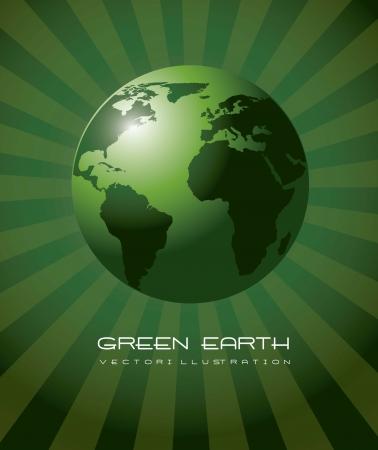 kontinentální: zelená země realistický, ekologie pozadí. vektorové ilustrace