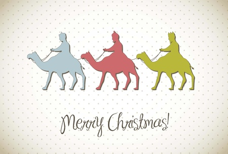 wise men: christmas card with wise men, vintage style. vector illustration