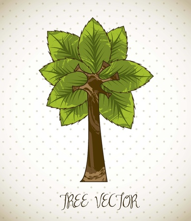 bacground: tree cartoon over beige bacground. vector illustration