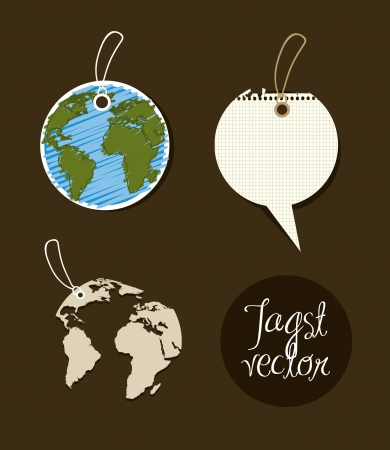globe hand: planet ecology  tags over brown background. vector illustration Illustration