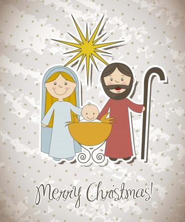 sacra famiglia: Cartolina di Natale con il presepe. illustrazione vettoriale