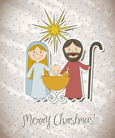 tranquil scene: christmas card with nativity scene. vector illustration