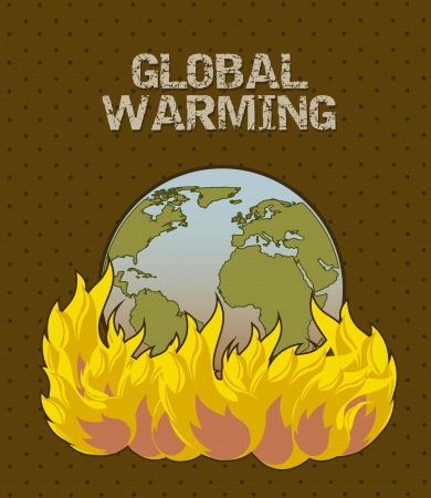 planet  with fire, global warming. vector illustration Stock Vector - 15541777