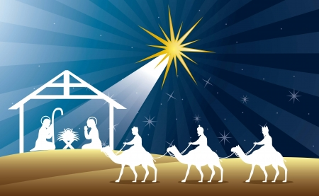 tranquil scene: nativity scene with wise men over night background. vector