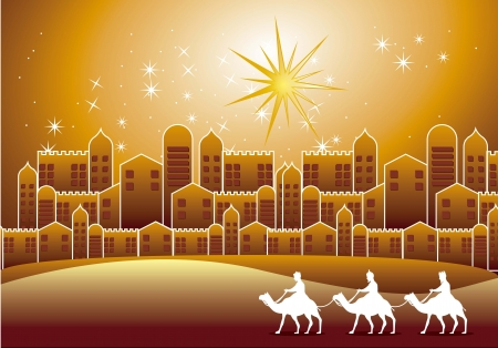 nazareth: wise men over nazareth city over evening. vector illustration