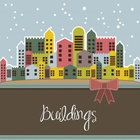 vibrant cottage: snowing buildings card, vintage style. vector illustration