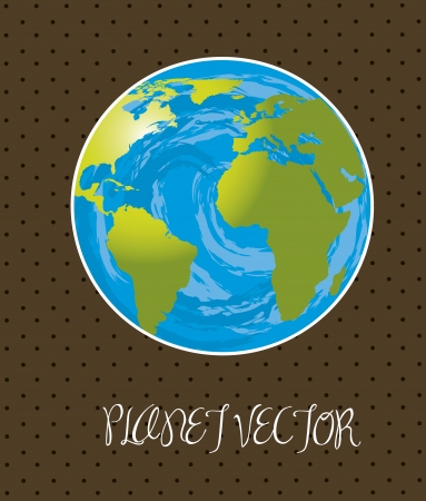 planet drawing  over brown background. vector illustration Vector