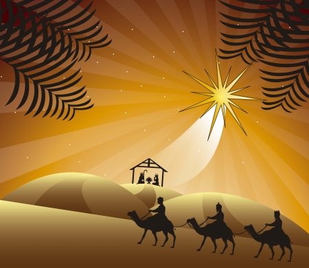 pesebre: Escena de la natividad con los hombres sabios. ilustraci�n vectorial