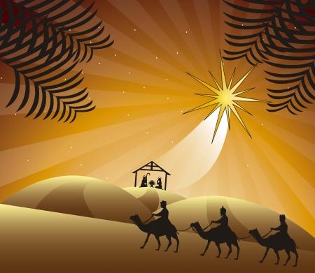 kerststal met wijze mannen. vector illustratie