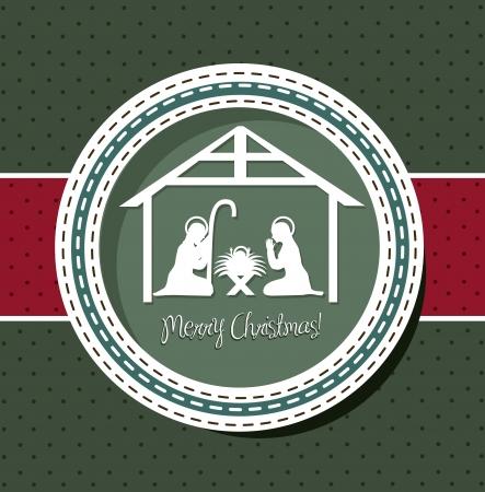 pesebre: Tarjeta de Navidad con la escena de la natividad. ilustraci�n vectorial