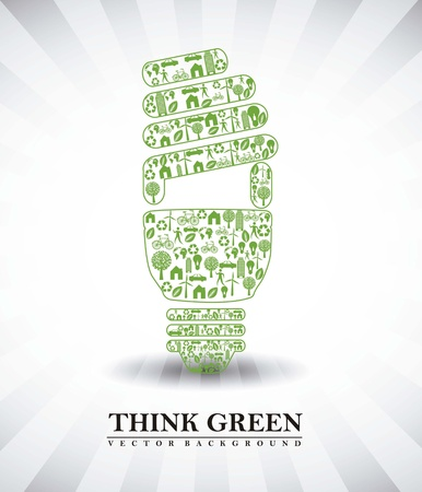 bulb electric ecology, think green. vector illustration Stock Vector - 15541757