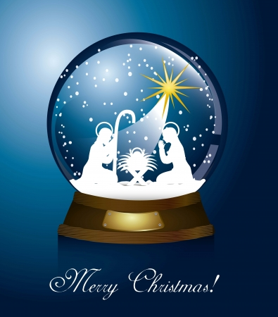three wise men: christmas globe with nativity scene over blue background. vector Illustration