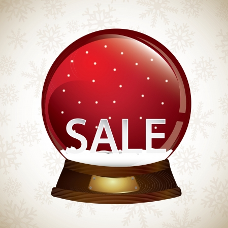 snowball with sale inside over white background. Illustration