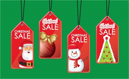 symbols hanging sales christmas over green background Vector